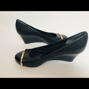 Tory Burch Black Leather Wedge